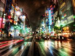 Пазлы онлайн. Картинка №74: Огни ночного города . Размер картинки: 640х480
